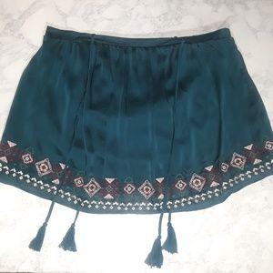 Xhilaration boho green embroidered tassel skirt XL